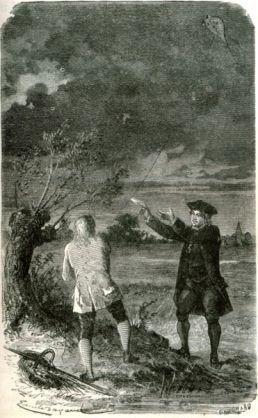 Benjamin Franklin volando el cometa
