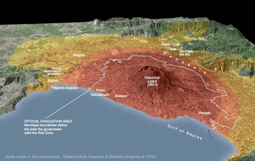 Zonas de riesgo del Vesubio